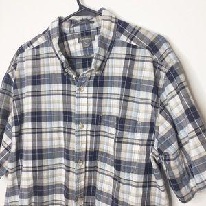 Eddie Bauer plaid shirt navy tan size XXL 2XL